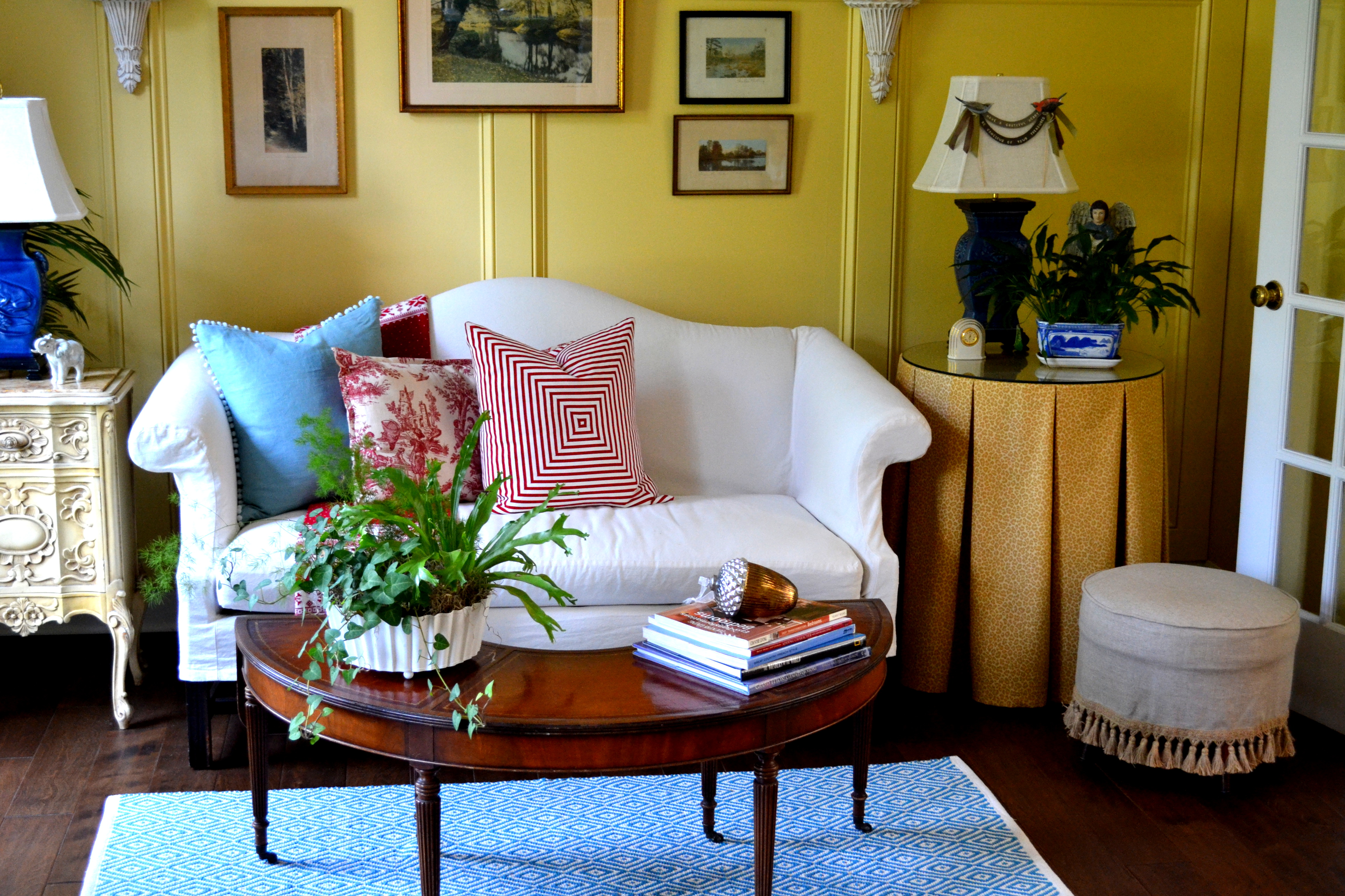 The Furnishings Have A Varied History Love Seat Weve Had For Decades And Its Covered With My Very First Slipcover Some Of Other Sewing Projects